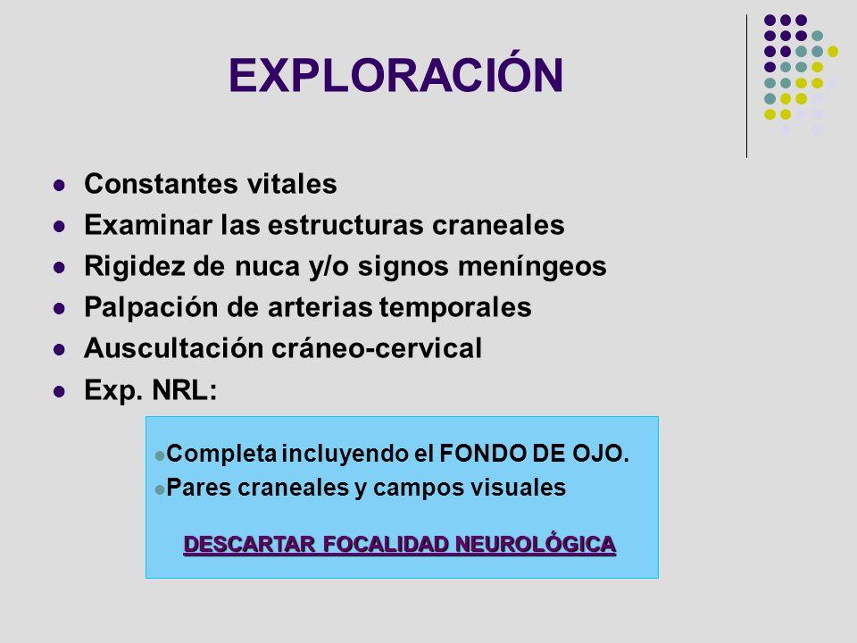 EXPLORACIÓN Constantes vitales Examinar las estructuras craneales