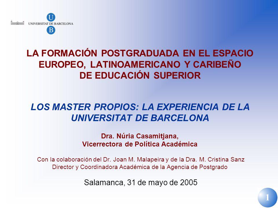 LA FORMACIÓN POSTGRADUADA EN EL ESPACIO EUROPEO, LATINOAMERICANO Y CARIBEÑO DE EDUCACIÓN SUPERIOR LOS MASTER PROPIOS: LA EXPERIENCIA DE LA UNIVERSITAT DE BARCELONA Dra.