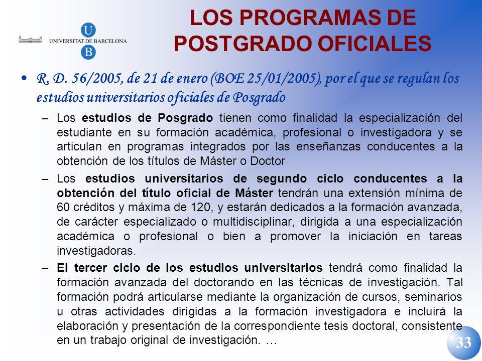 LOS PROGRAMAS DE POSTGRADO OFICIALES