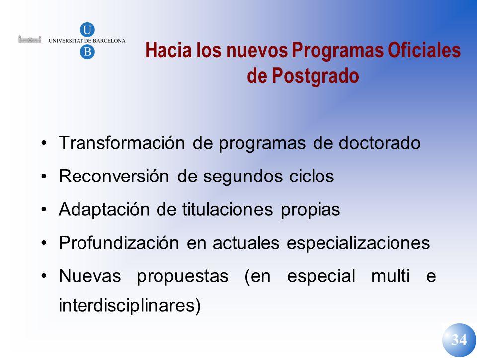 Hacia los nuevos Programas Oficiales de Postgrado