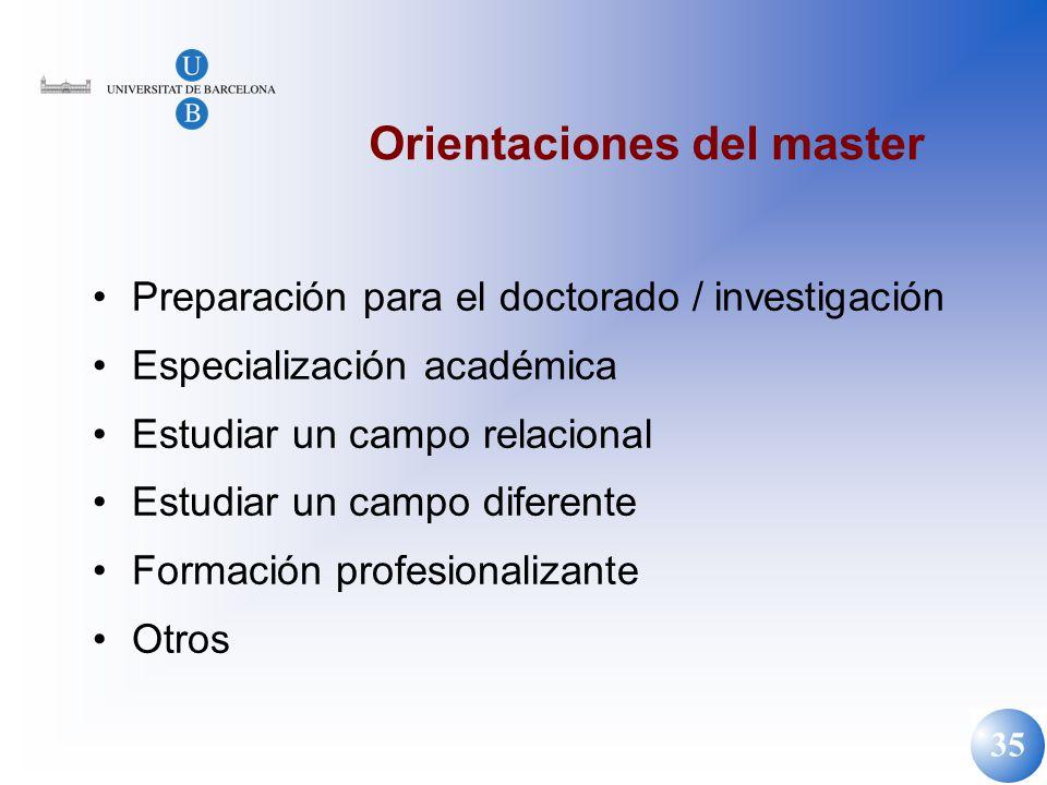 Orientaciones del master