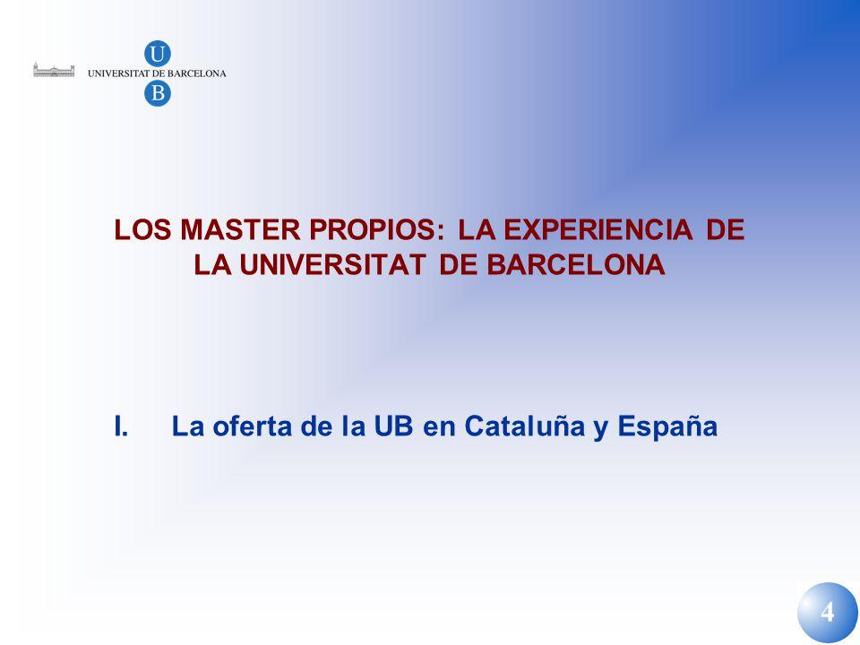 LOS MASTER PROPIOS: LA EXPERIENCIA DE LA UNIVERSITAT DE BARCELONA