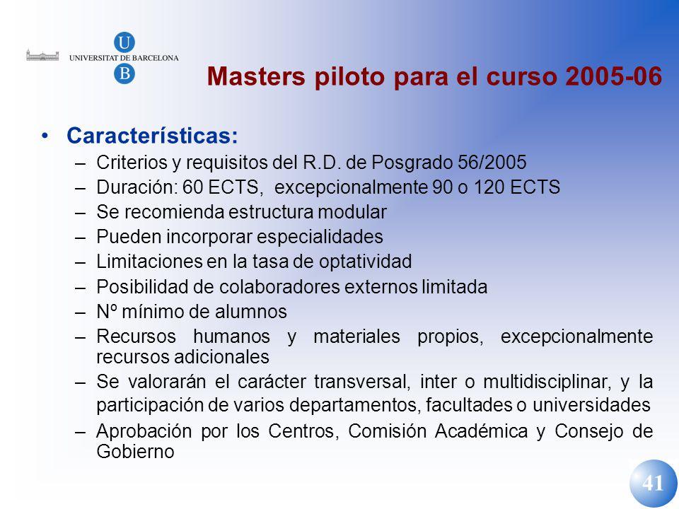 Masters piloto para el curso 2005-06