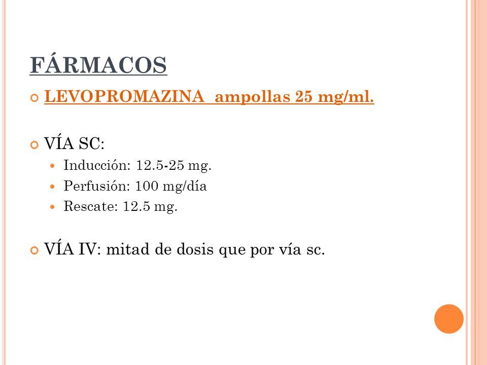 FÁRMACOS LEVOPROMAZINA ampollas 25 mg/ml. VÍA SC: