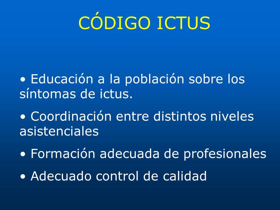 CÓDIGO ICTUS • Educación a la población sobre los síntomas de ictus.