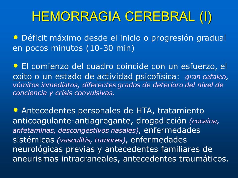 HEMORRAGIA CEREBRAL (I)