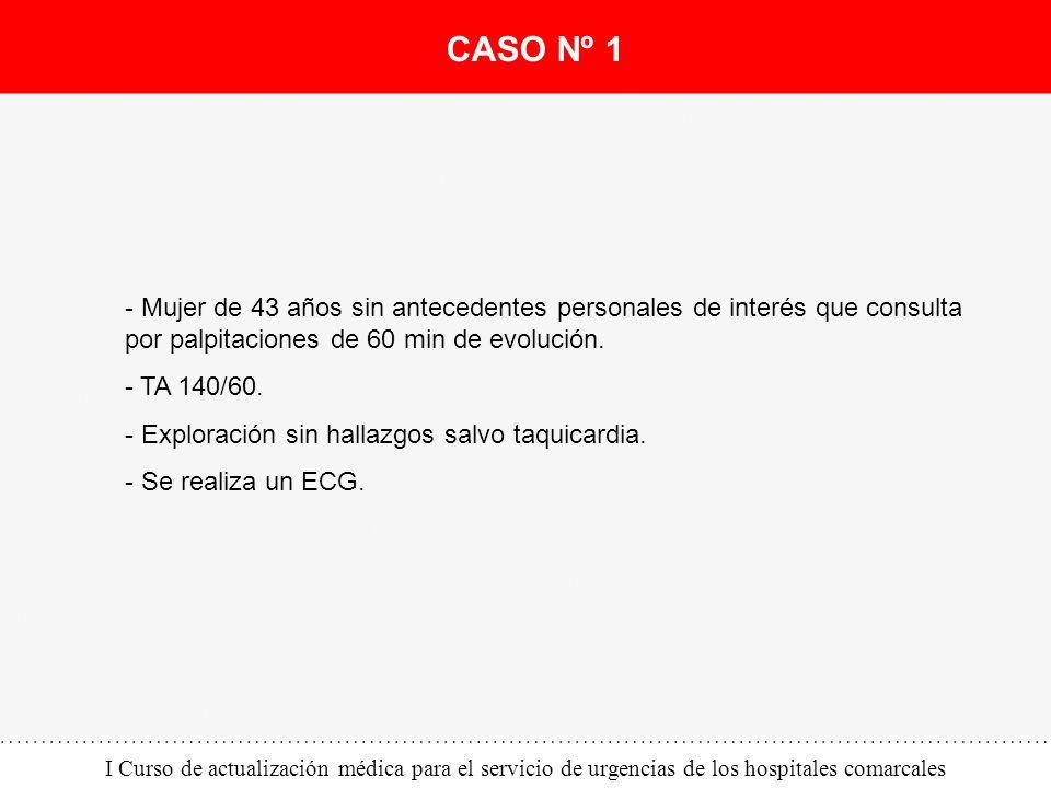 CASO Nº 1 - Mujer de 43 años sin antecedentes personales de interés que consulta por palpitaciones de 60 min de evolución.