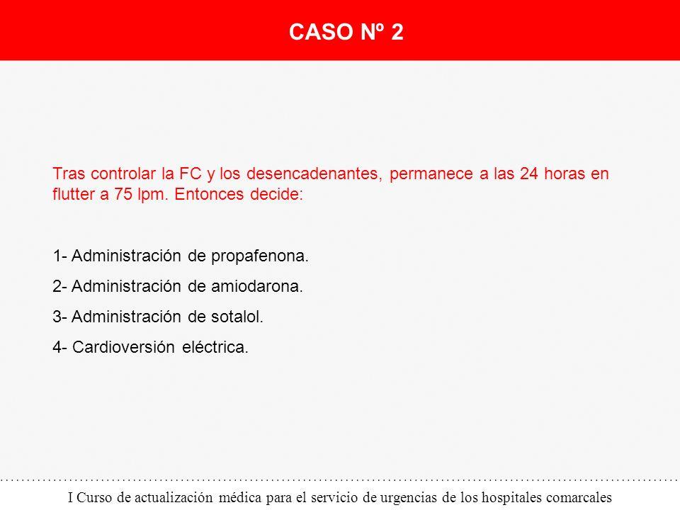 CASO Nº 2 Tras controlar la FC y los desencadenantes, permanece a las 24 horas en flutter a 75 lpm. Entonces decide: