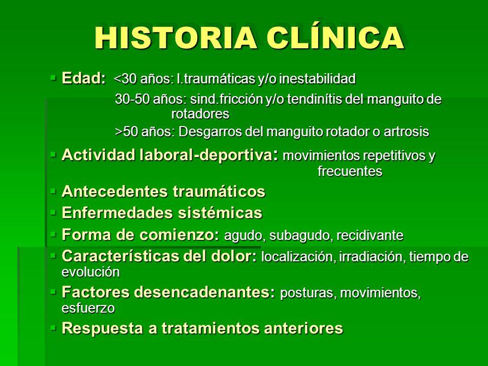 HISTORIA CLÍNICA Edad: <30 años: l.traumáticas y/o inestabilidad