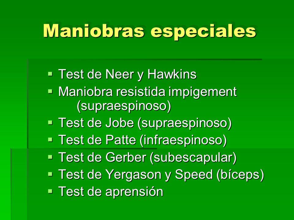 Maniobras especiales Test de Neer y Hawkins
