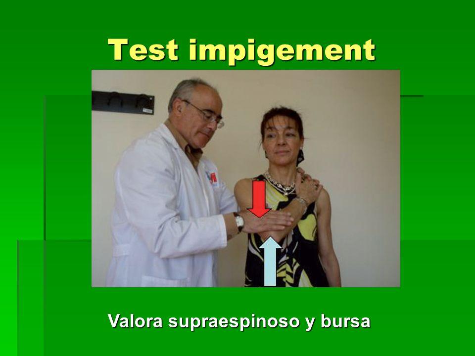 Test impigement Valora supraespinoso y bursa