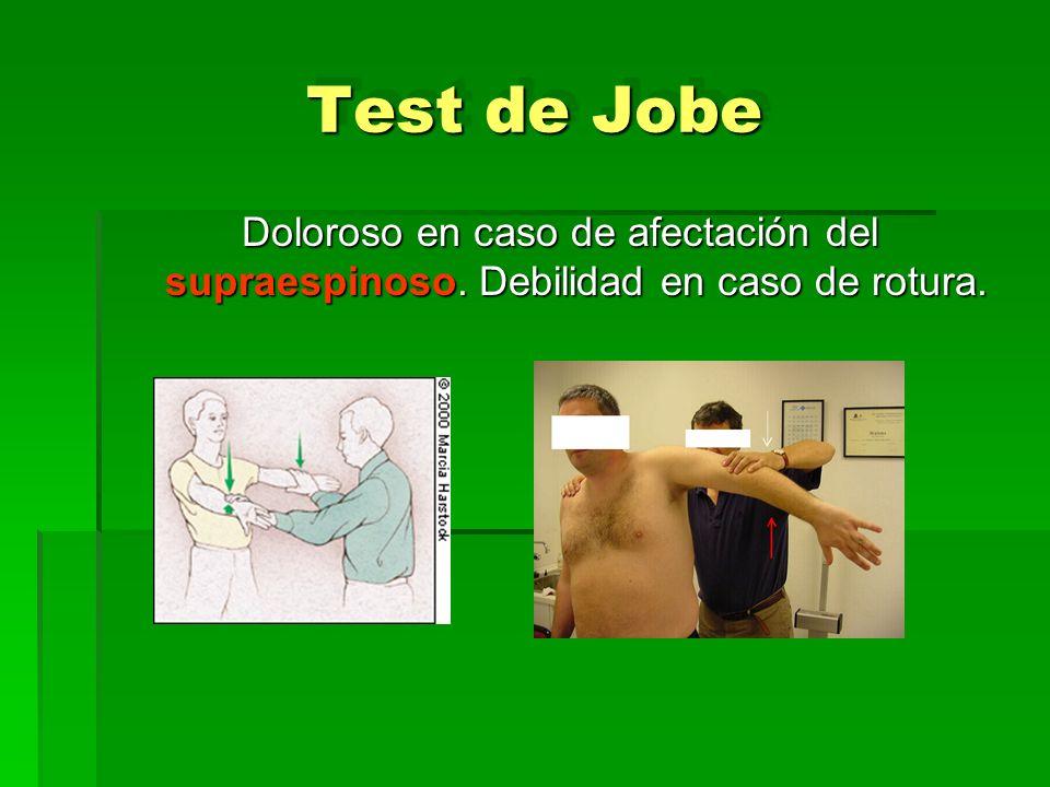 Test de Jobe Doloroso en caso de afectación del supraespinoso. Debilidad en caso de rotura.