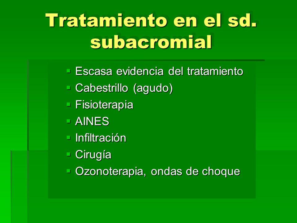 Tratamiento en el sd. subacromial