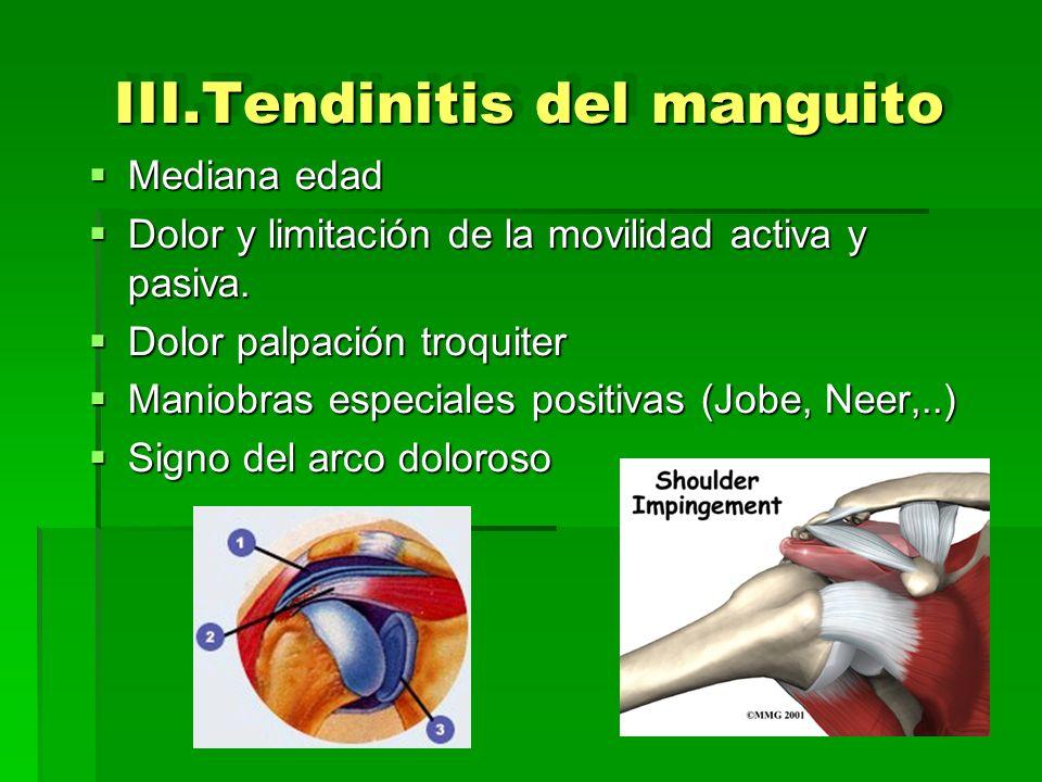 III.Tendinitis del manguito