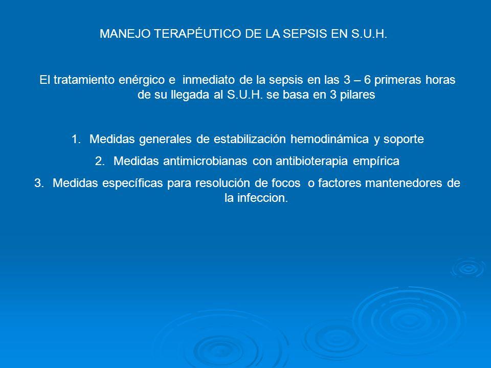 MANEJO TERAPÉUTICO DE LA SEPSIS EN S.U.H.
