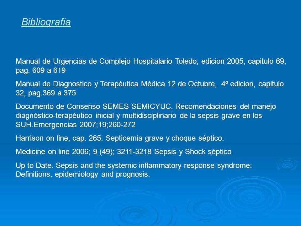 Bibliografia Manual de Urgencias de Complejo Hospitalario Toledo, edicion 2005, capitulo 69, pag. 609 a 619.