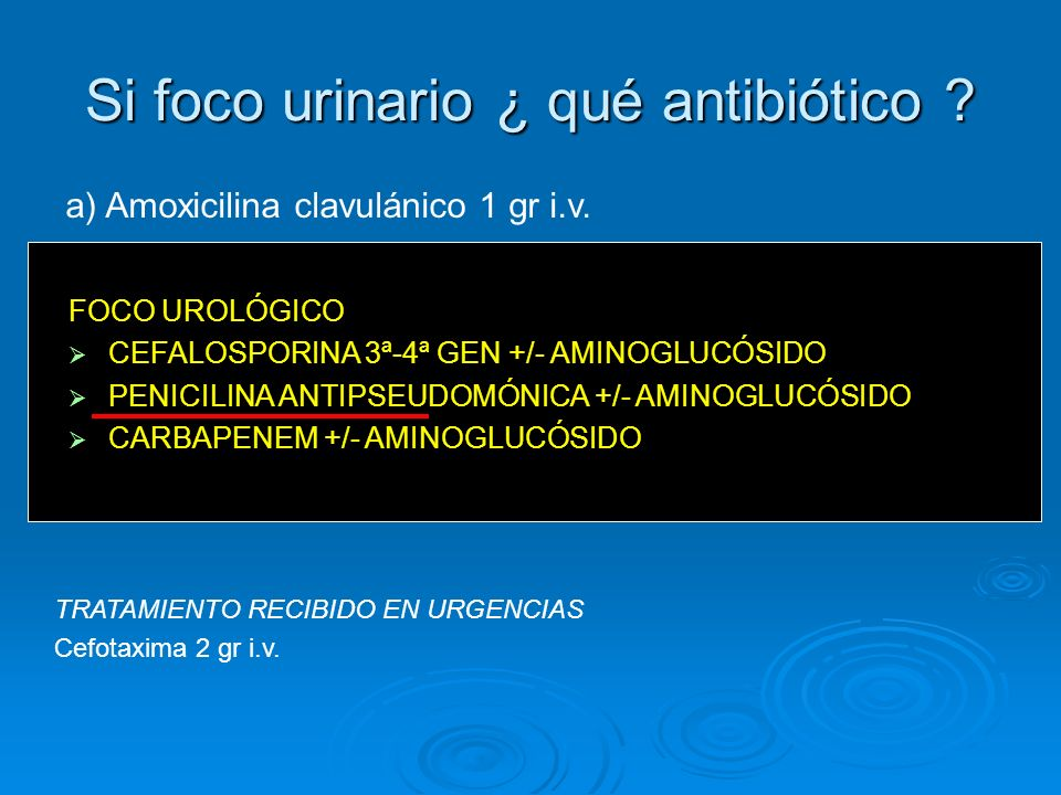 Si foco urinario ¿ qué antibiótico