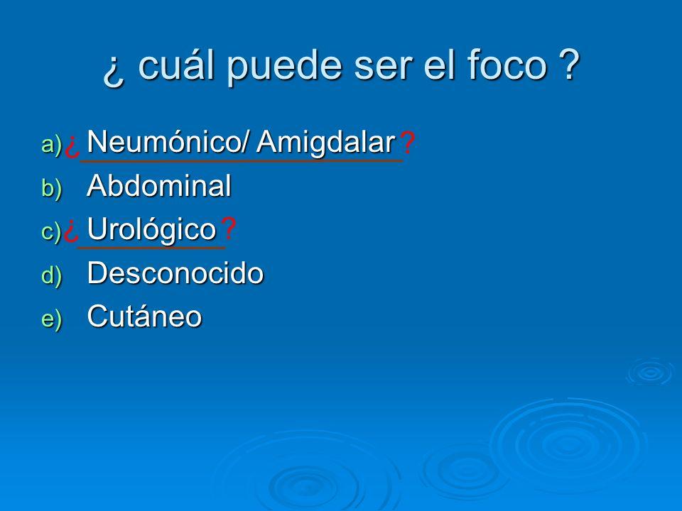 ¿ cuál puede ser el foco Neumónico/ Amigdalar Abdominal Urológico