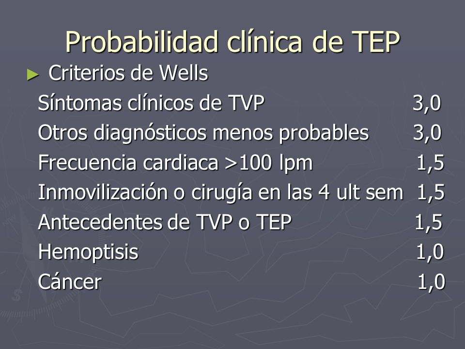 Probabilidad clínica de TEP