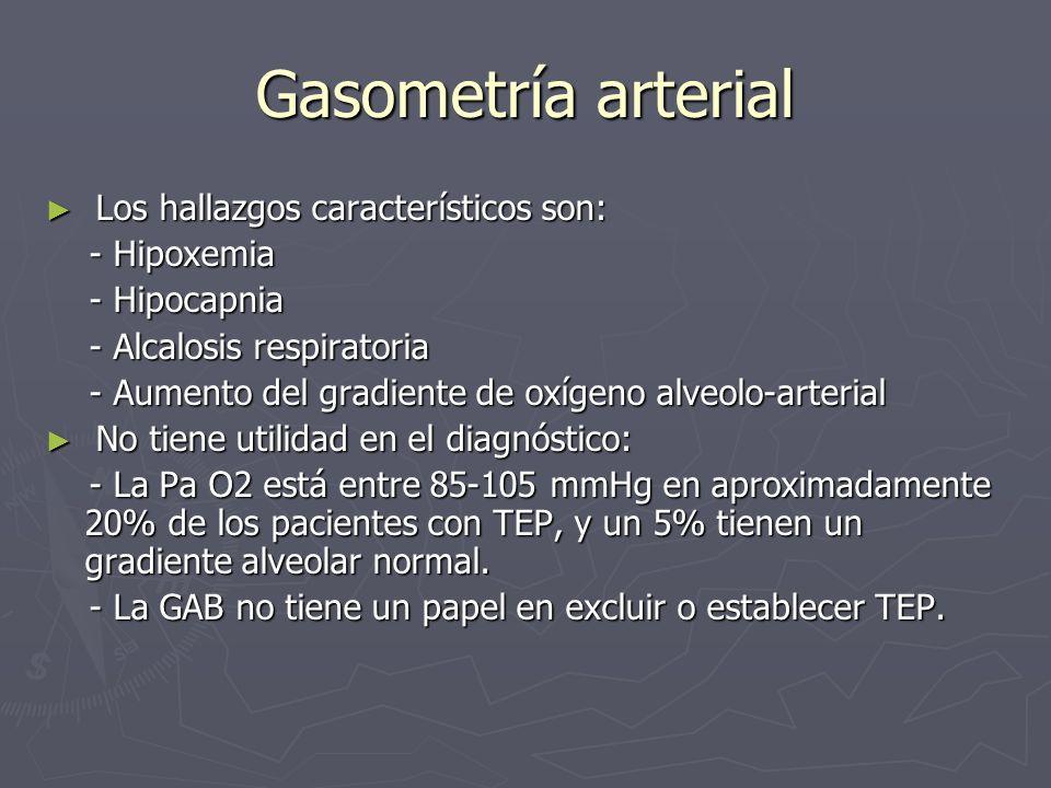 Gasometría arterial Los hallazgos característicos son: - Hipoxemia