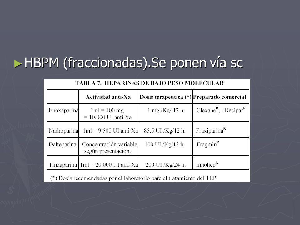 HBPM (fraccionadas).Se ponen vía sc