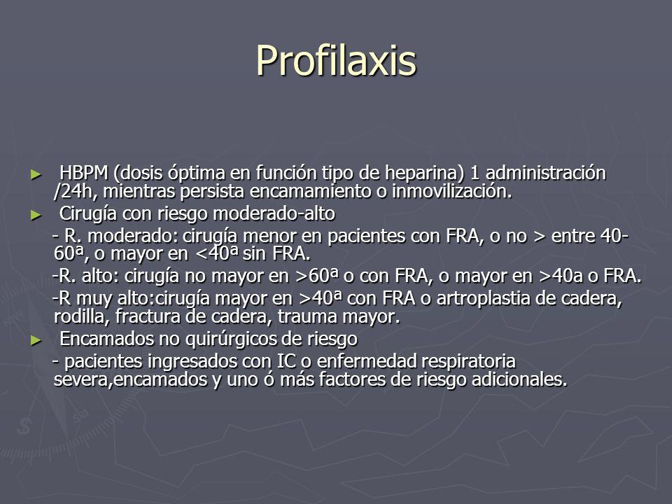 Profilaxis HBPM (dosis óptima en función tipo de heparina) 1 administración /24h, mientras persista encamamiento o inmovilización.