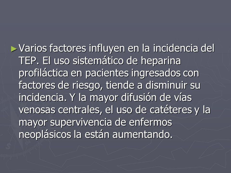 Varios factores influyen en la incidencia del TEP