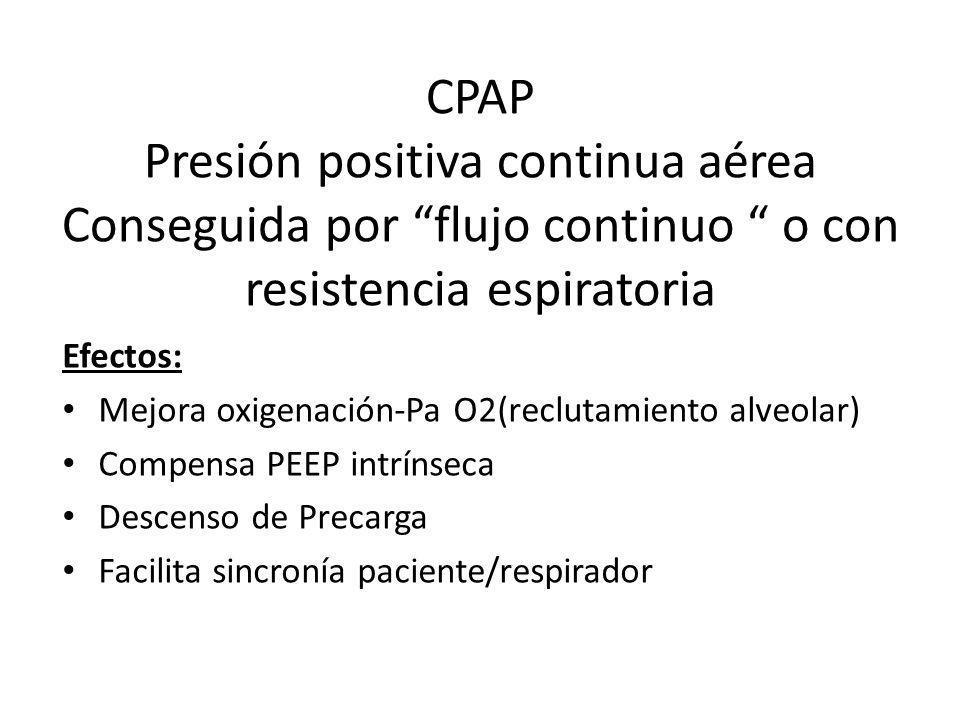 Efectos: Mejora oxigenación-Pa O2(reclutamiento alveolar) Compensa PEEP intrínseca. Descenso de Precarga.