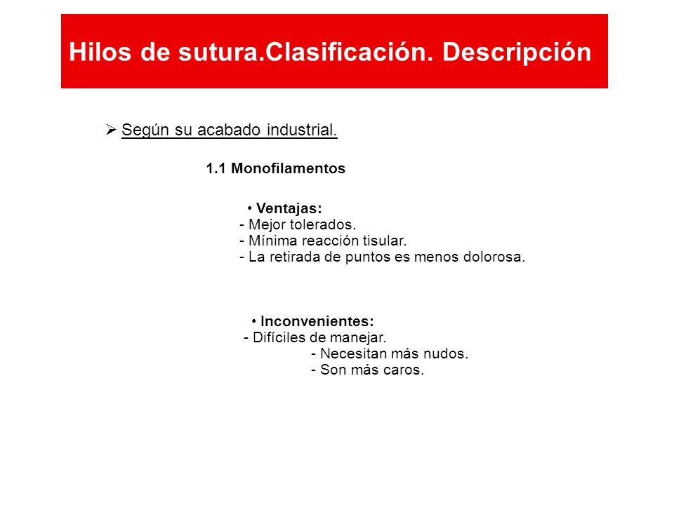 Hilos de sutura.Clasificación. Descripción