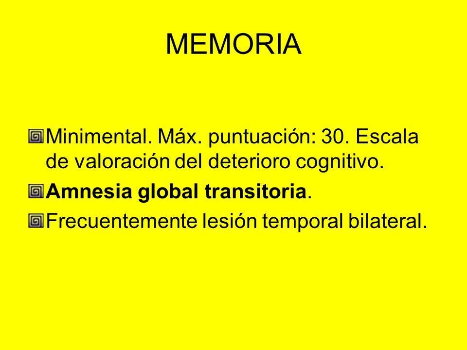 MEMORIA Minimental. Máx. puntuación: 30. Escala de valoración del deterioro cognitivo. Amnesia global transitoria.