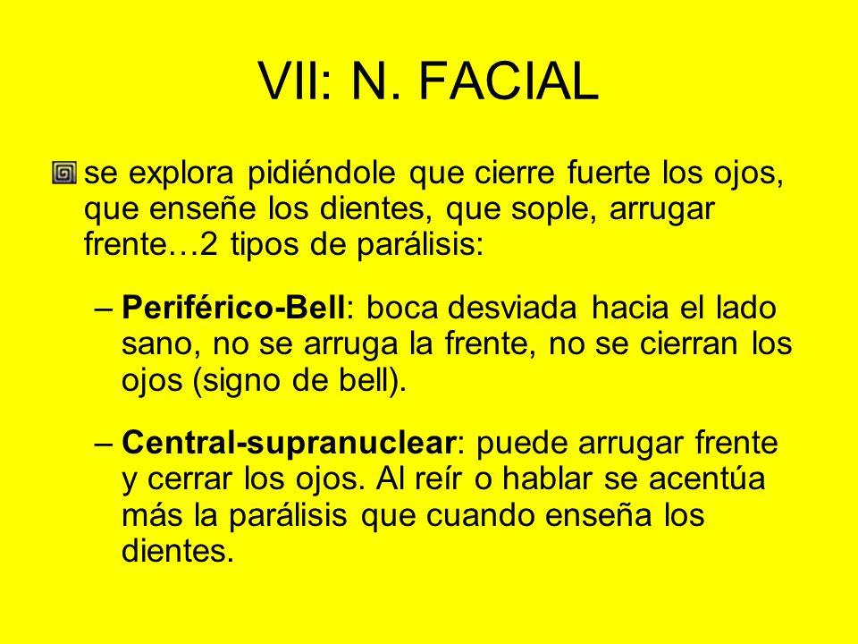 VII: N. FACIAL se explora pidiéndole que cierre fuerte los ojos, que enseñe los dientes, que sople, arrugar frente…2 tipos de parálisis: