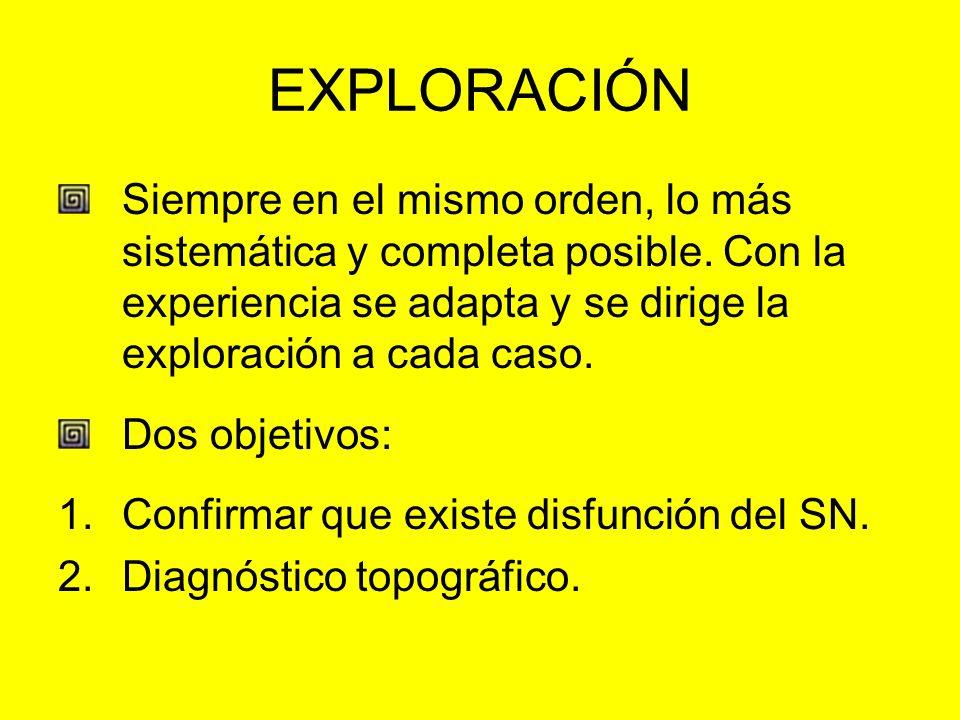 EXPLORACIÓN Siempre en el mismo orden, lo más sistemática y completa posible. Con la experiencia se adapta y se dirige la exploración a cada caso.
