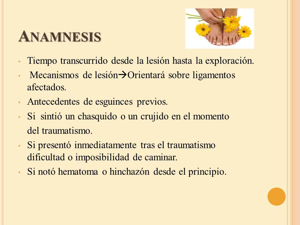 Anamnesis Tiempo transcurrido desde la lesión hasta la exploración.