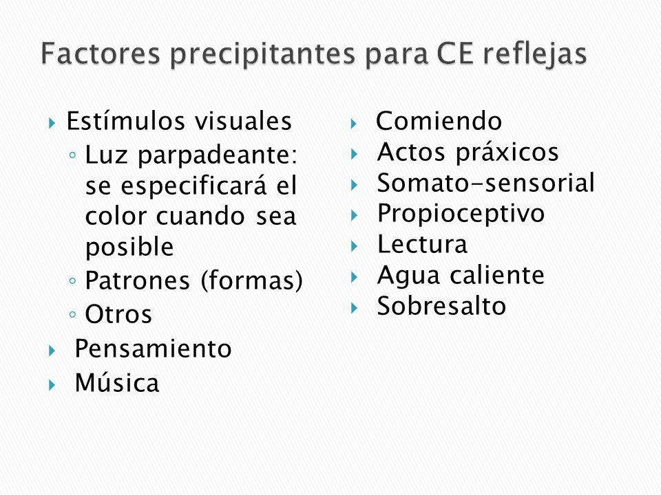 Factores precipitantes para CE reflejas