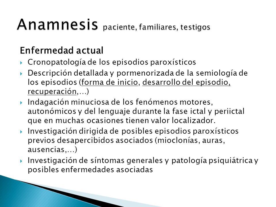 Anamnesis paciente, familiares, testigos
