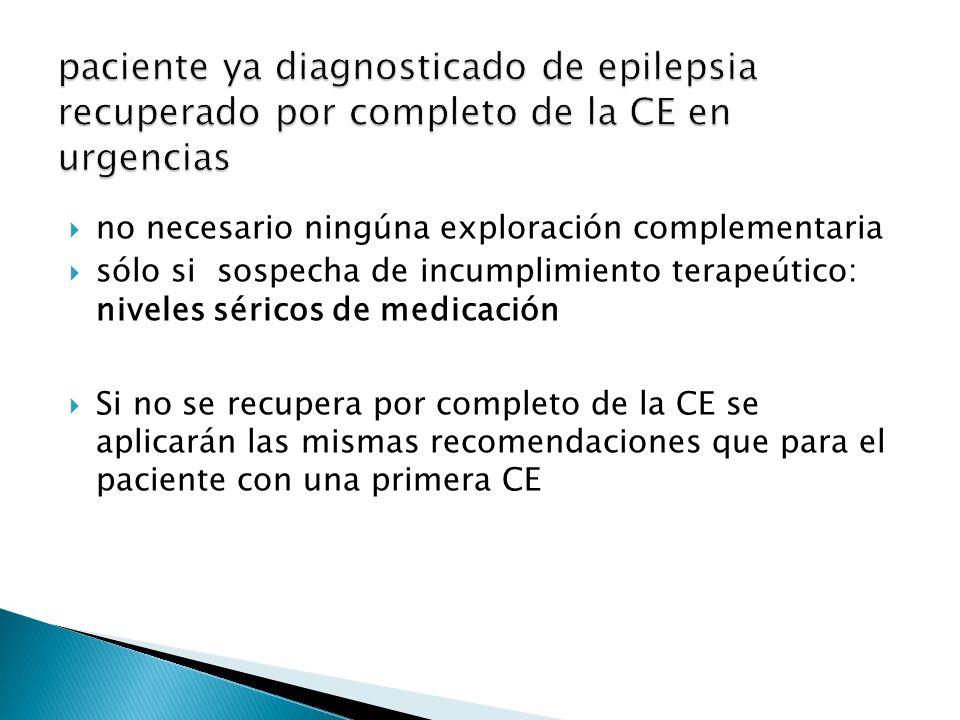 paciente ya diagnosticado de epilepsia recuperado por completo de la CE en urgencias