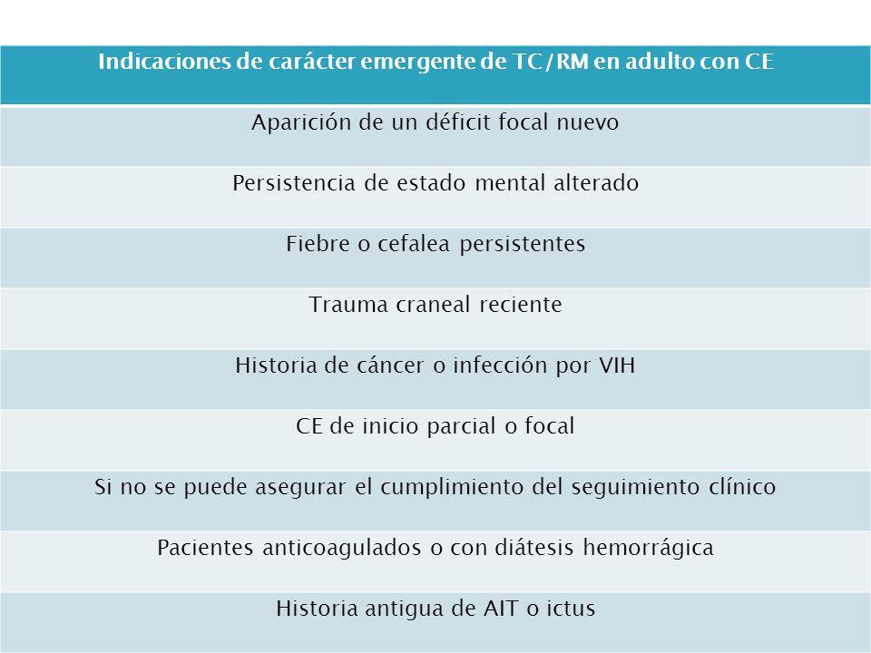 Indicaciones de carácter emergente de TC/RM en adulto con CE