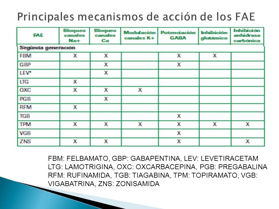 Principales mecanismos de acción de los FAE