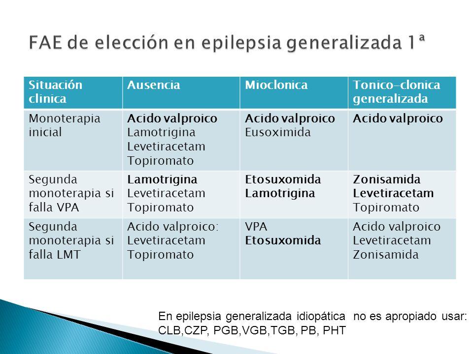 FAE de elección en epilepsia generalizada 1ª