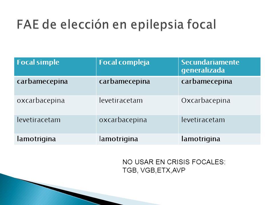FAE de elección en epilepsia focal