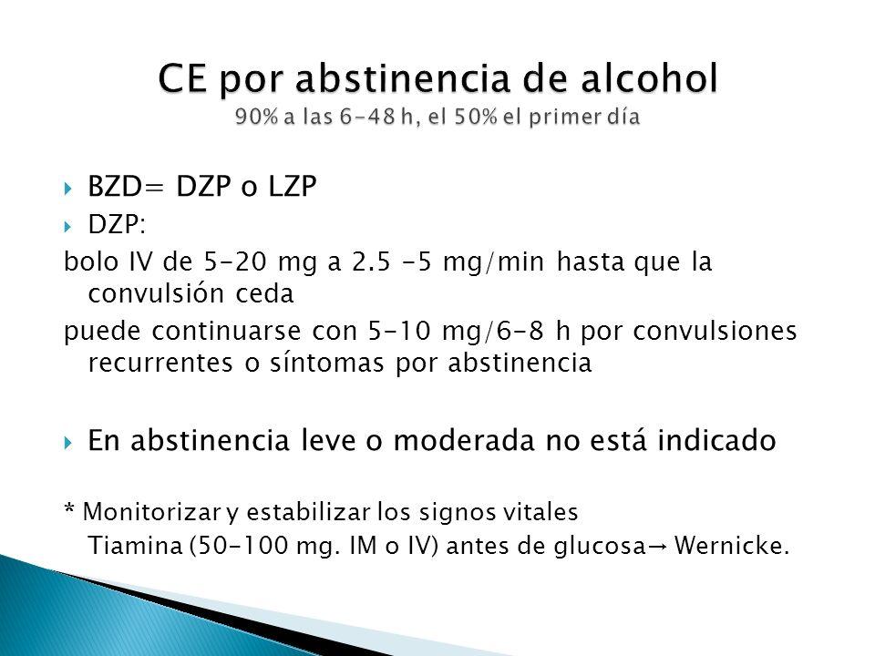 CE por abstinencia de alcohol 90% a las 6-48 h, el 50% el primer día