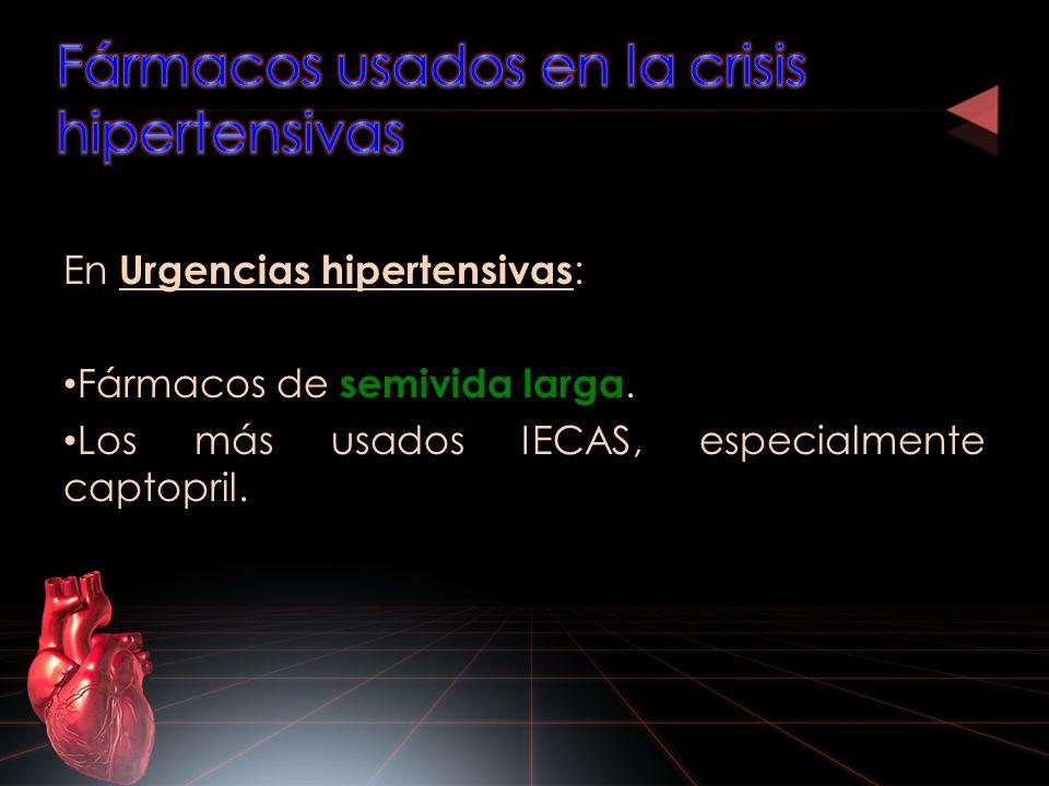 Fármacos usados en la crisis hipertensivas