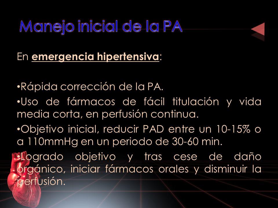 Manejo inicial de la PA En emergencia hipertensiva: