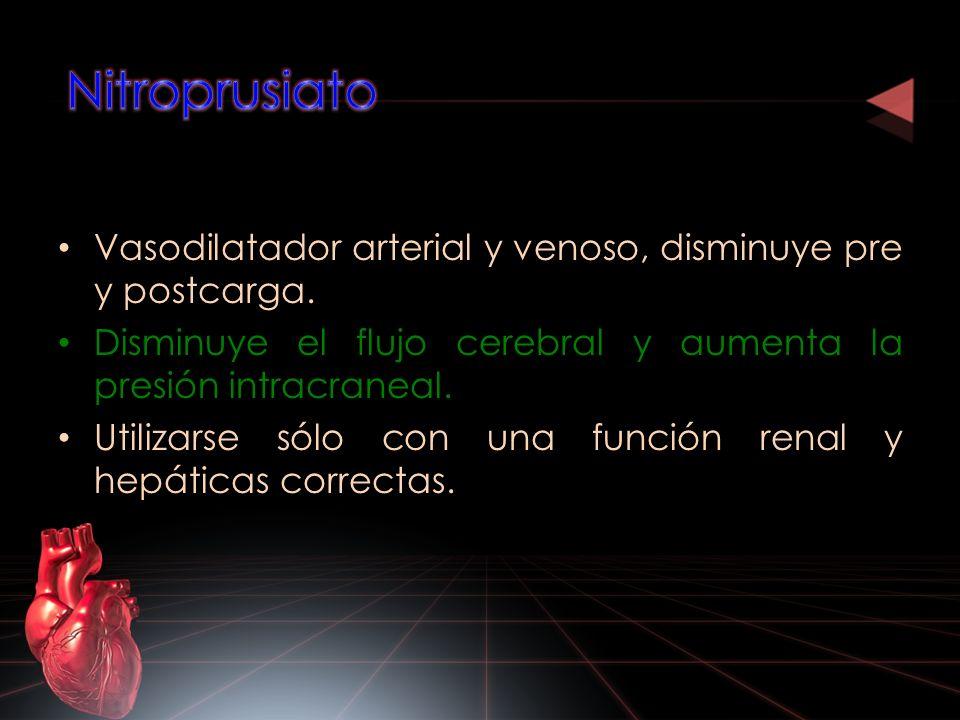 Nitroprusiato Vasodilatador arterial y venoso, disminuye pre y postcarga. Disminuye el flujo cerebral y aumenta la presión intracraneal.