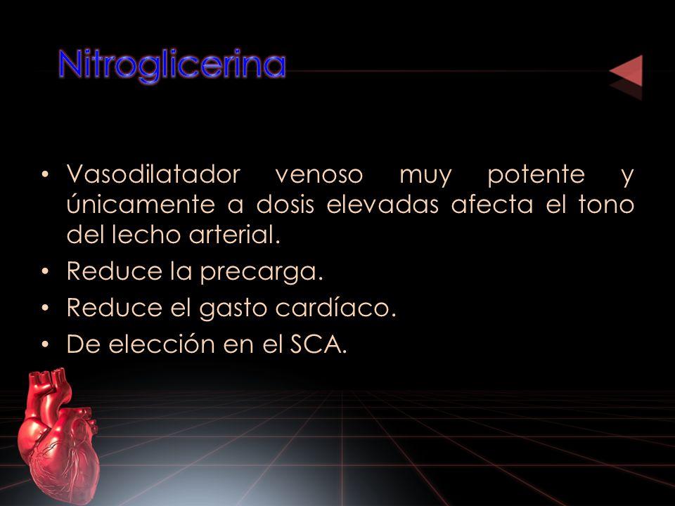 Nitroglicerina Vasodilatador venoso muy potente y únicamente a dosis elevadas afecta el tono del lecho arterial.