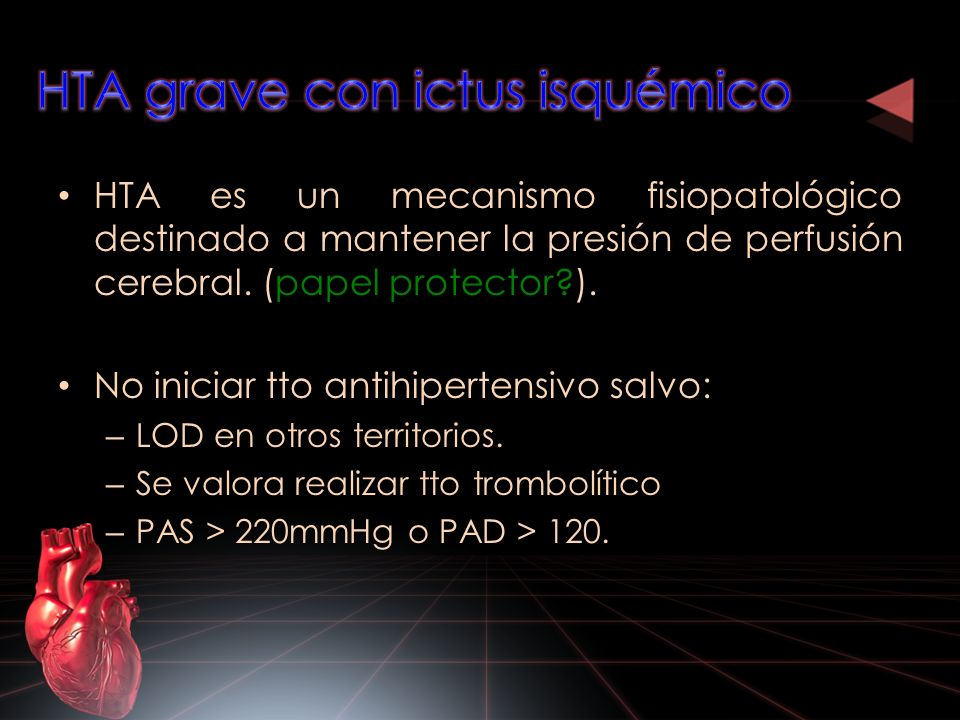 HTA grave con ictus isquémico