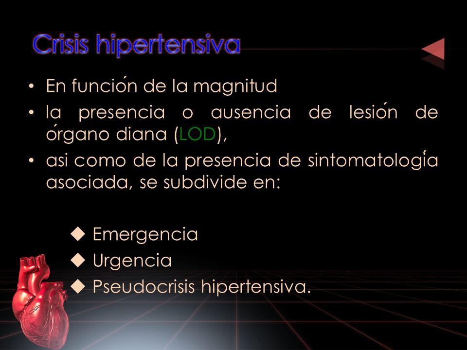 Crisis hipertensiva En función de la magnitud