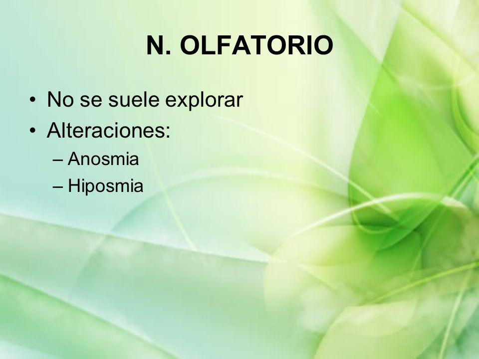 N. OLFATORIO No se suele explorar Alteraciones: Anosmia Hiposmia