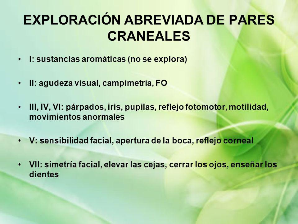 EXPLORACIÓN ABREVIADA DE PARES CRANEALES