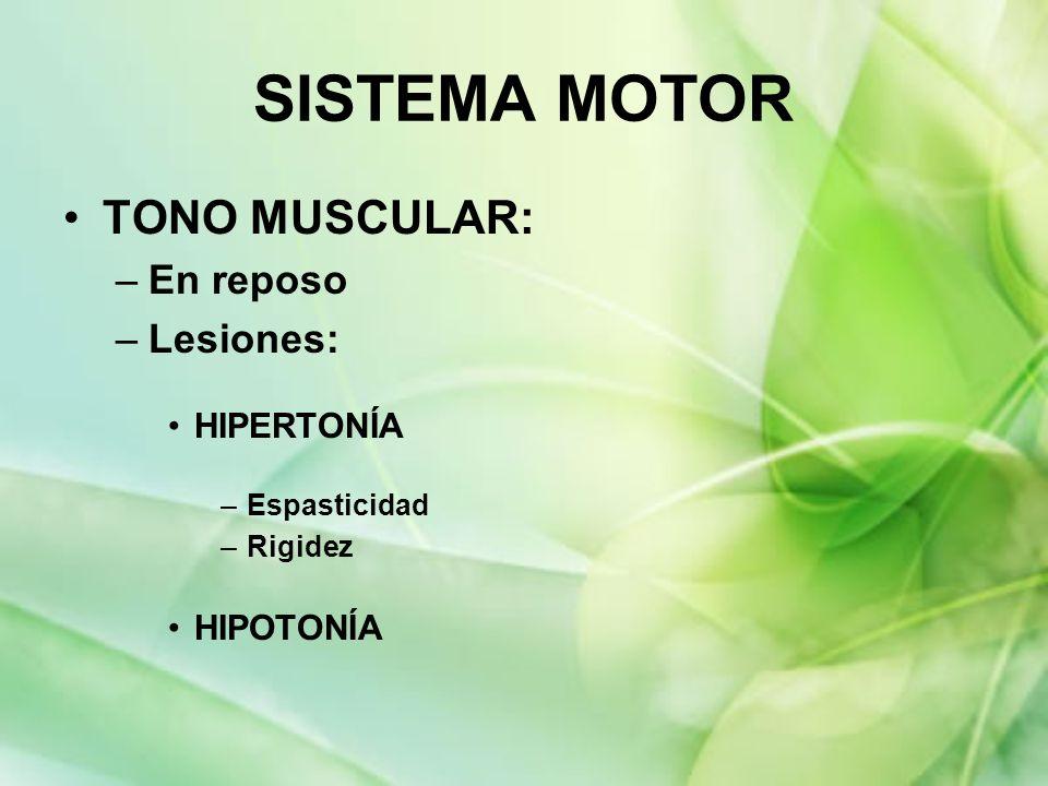 SISTEMA MOTOR TONO MUSCULAR: En reposo Lesiones: HIPERTONÍA HIPOTONÍA